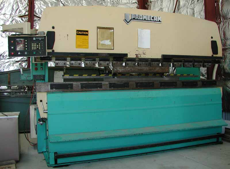Promecam Press Brake capable of bending ten foot metal sheets.
